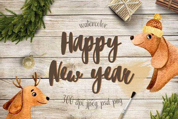 watercolor new year dog 2018 illustrations creative market