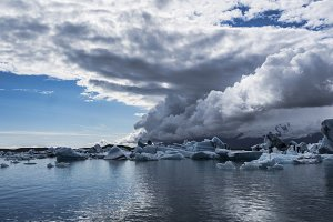 Icebergs in Jokulsarlon glacier lagoon on the south coast of Iceland
