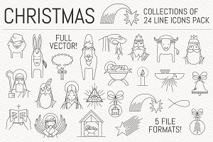 Christmas Nativity 24 Icon set