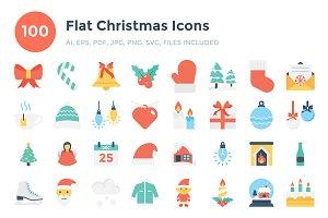 100 Flat Christmas Icons
