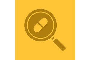 Drugstore and medicine search glyph color icon