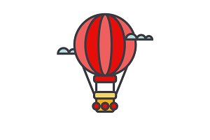Air balloon, aerostat flat line illustration, concept vector isolated icon