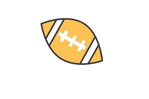 American football ball flat line illustration, concept vector isolated icon
