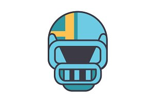 American football helmet flat line illustration, concept vector isolated icon