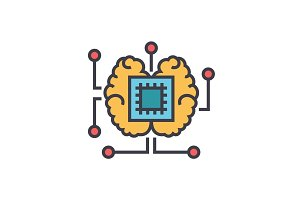 Artificial intelligence, chip with brain flat line illustration, concept vector isolated icon