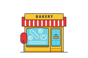 Bakery building flat line illustration, concept vector isolated icon