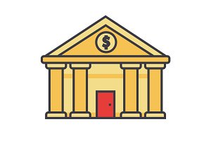 Bank, court of justice flat line illustration, concept vector isolated icon