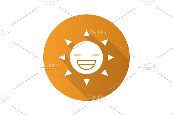 Line Art Of Sun : Laughing sun smile flat design long shadow glyph icon ~ icons