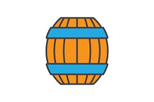 Barrel flat line illustration, concept vector isolated icon