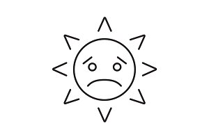 Sad sun smile linear icon