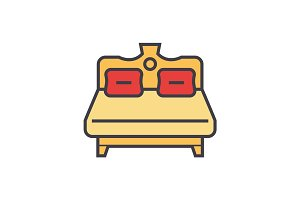 2 person royal bed flat line illustration, concept vector isolated icon