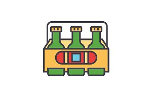 3 beers flat line illustration, concept vector isolated icon