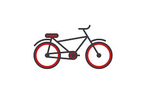 Bicycle flat line illustration, concept vector isolated icon