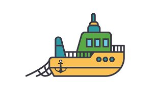 Boat fishing flat line illustration, concept vector isolated icon