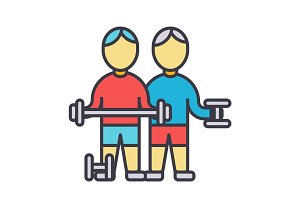 Bodybuilders, fintess gym, strong practice, weights, workout flat line illustration, concept vector isolated icon
