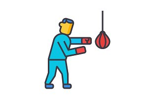 Boxing flat line illustration, concept vector isolated icon
