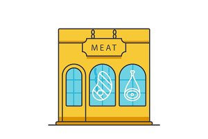 Butcher shop, butchery, meat business flat line illustration, concept vector isolated icon