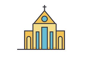 Church flat line illustration, concept vector isolated icon