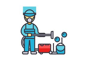 Cleaning service, houskeeping man, cleaner with vacuum cleaner flat line illustration, concept vector isolated icon