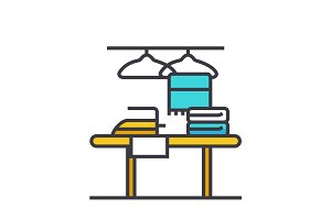 Cleaning service flat line illustration, concept vector isolated icon