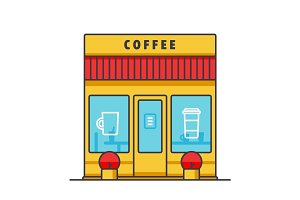 Coffee business, cafe building flat line illustration, concept vector isolated icon