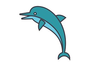 Dolphin flat line illustration, concept vector isolated icon