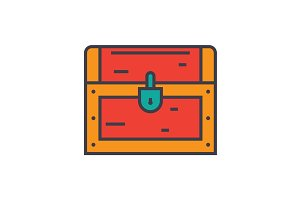 Dower, chest flat line illustration, concept vector isolated icon