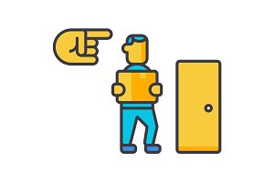 Fired, exit, dismissal flat line illustration, concept vector isolated icon