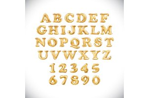 alphabet Metallic Gold Balloons