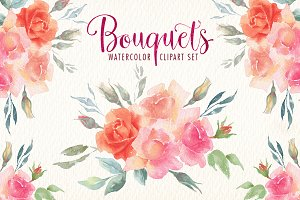 Watercolor bouquets clipart set