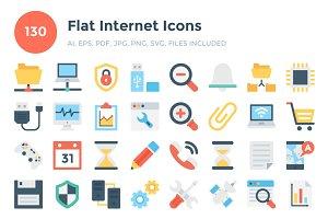 130 Flat Internet Icons