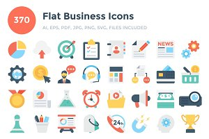 370 Flat Business Icons
