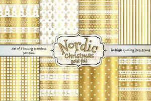 Gold foil Nordic Fairisle patterns