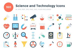 160 Flat Science and Technology Icon