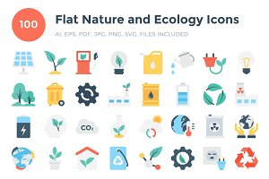 100 Flat Nature and Ecology Icons