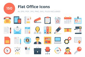 150 Flat Office Icons