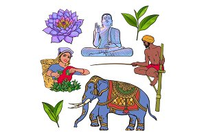 Set of hand drawn Sri Lanka cultural symbols