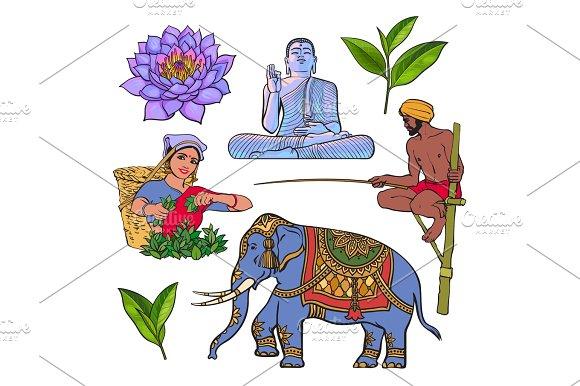 Set of hand drawn Sri Lanka cultural symbols