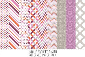 Heather Grey & Purple Pattern Paper