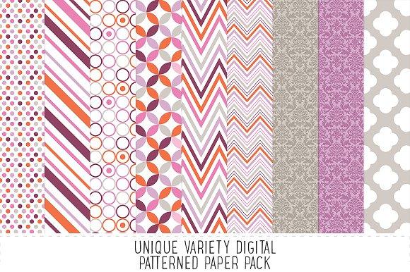 Heather Grey & Purple Pattern Paper in Patterns