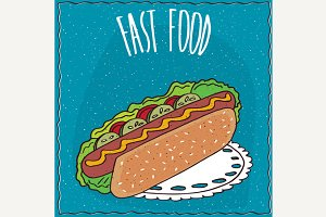 Appetizing hot dog in handmade cartoon style