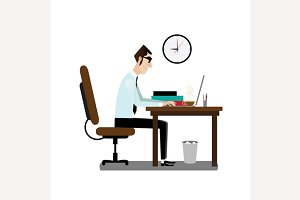 Office man sitting at working desk