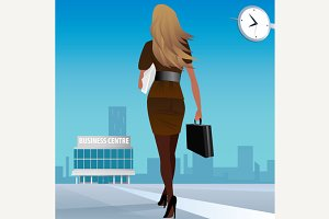 Businesswoman go to work in business center