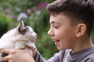 happy boy hold cat smiling close up photo