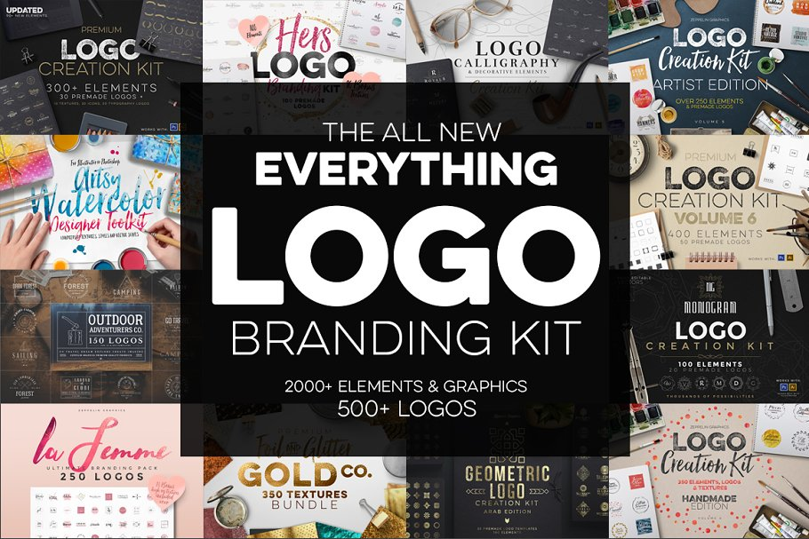 09e63ee449a68 The Best Logo Creation Kit Bundle ~ Logo Templates ~ Creative Market