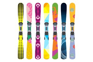 Skis vector set