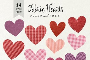 Hand Drawn Fabric Hearts Clipart