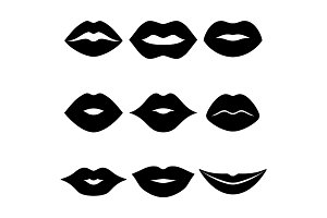 Lips vector black icon set
