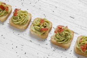 Mini-toast, decorated with guacamole