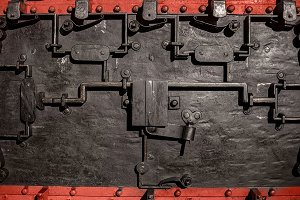 Steel machinery as background texture